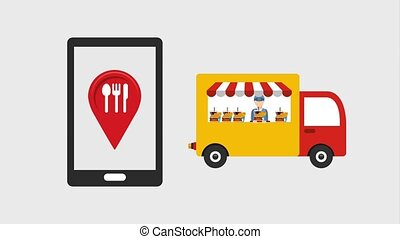 food delivery related - smartphone restaurant truck food...