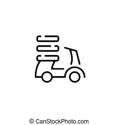 Food delivery scooter icon. Pizza delivery, Bike, motorbike, moped, motorcycle and pizza boxes. Vector line icon