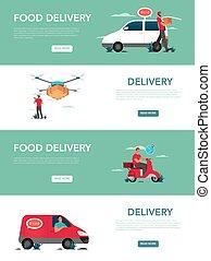 Food delivery service advert banner or website header set.