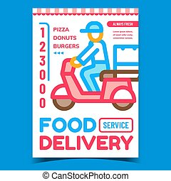 Food Delivery Service Advertising Poster Vector