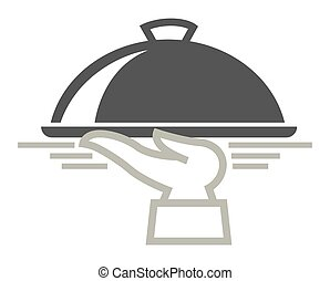 Food delivery service vector icon of dish on hand for...