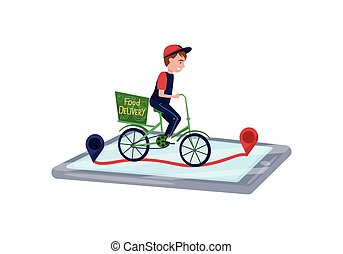 Food delivery service worker riding bicycle. Online order tracking by smartphone. Flat vector design
