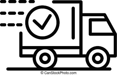 Food delivery truck icon, outline style