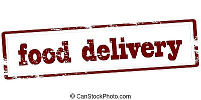 Food delivery - Stamp with text food delivery inside, vector...
