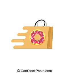 Food delivery vector logo isolated, meal ordering online service concept
