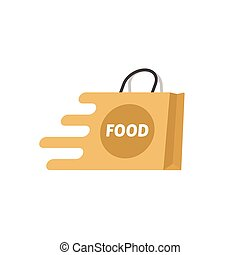 Food delivery vector logo isolated, shopping bag