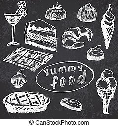 Food deserts set sketch hand drawn