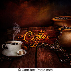 Food design - Coffee warehouse. Coffee cup with black coffee...