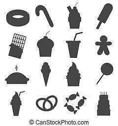 Food dessert icons set