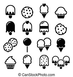Food, desserts icons - cupcake, ice