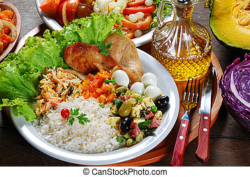 food, dish, steak, dinner, chicken, salad, meal, grilled, rice, vegetable, lunch, meat, healthy, plate, tomato, cuisine, delicious, barbecue, background, cooked, beef, roasted, gourmet, fillet, restaurant, white, diet, roast, pepper, table, grill, fried, dining, cooking, bbq, tasty, pork, potato, eat, baked, spicy, fresh, prepared, lettuce, cook, cutlet, chop, sauce, horizontal, fire