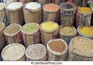 Food Display - Sacks of pulses, rice and grain outside a ...