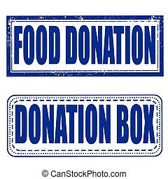 food donation, box stamp