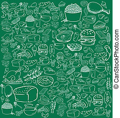 Food Doodle - Vector illustration of food in doodle style, ...