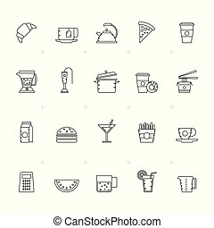 Food, Drink and kitchen equipment icons 2