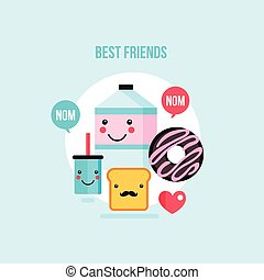 Food Drink cartoon characters Milk carton Glass Donut Toast bread