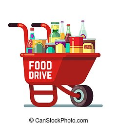 Food drive bank thanksgiving and christmas holiday donation vector concept. Wheelbarrow with canned goods and drinks