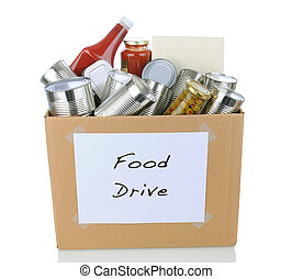 Food Drive Box - A box full of canned and packaged foodstuff...