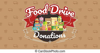 Food Drive charity movement, vector illustration - Food...