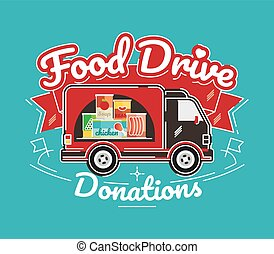 Food Drive charity movement, vector illustration