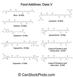 Food dyes - structural chemical formulas of food additives,...