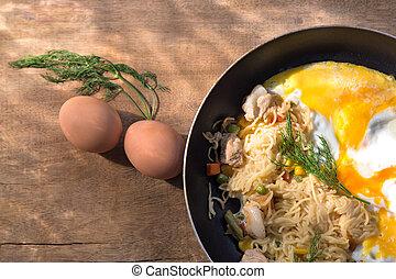 food eggs fried pasta breakfast