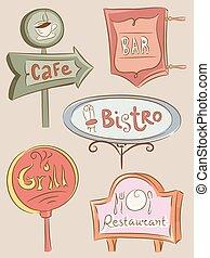 Food Establishments Sign Boards - Illustration of a...