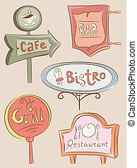 Food Establishments Sign Boards - Illustration of a...