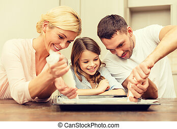 happy family in making cookies at home - food, family,...