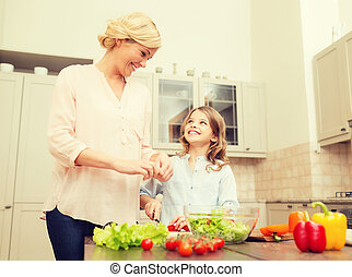 happy family making dinner in kitchen - food, family,...