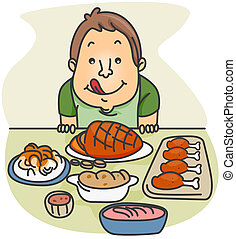 Food Feast - Illustration of a Guy Eager to Eat the Food...