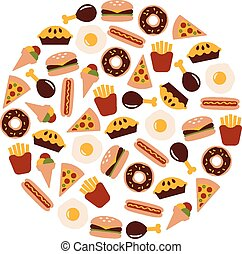 food flat icons in circle