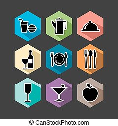Food flat icons set illustration