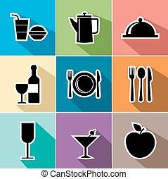 Food flat icons set illustration