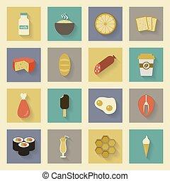 Food flat icons set