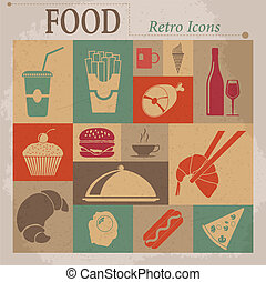 Food Flat Vector Retro Icons