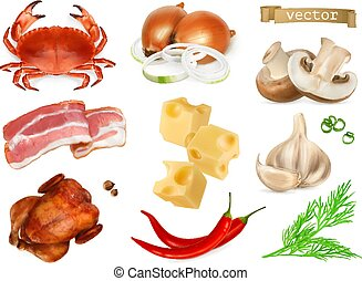 Food flavors and seasonings for snacks, natural additives, spice and other taste in cooking. Crab, bacon, chicken, onion, cheese, pepper, mushrooms, dill, garlic, 3d realistic vector icon set