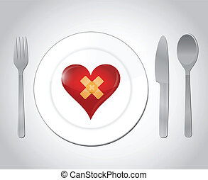 food for a broken heart concept illustration