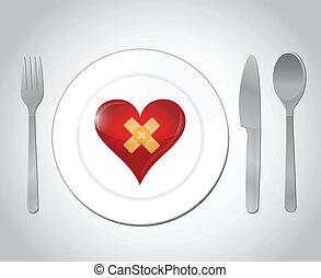 food for a broken heart concept illustration