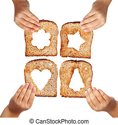 Food for everyone - Bread slices with christmas symbols in...
