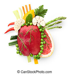 Food for heart. - A healthy human heart made of fruits and...