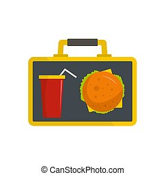 Food for lunch icon, flat style