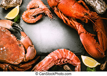 Food frame with crustacean for dinner. Lobster, crab, jumbo...