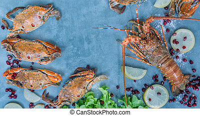 Food frame with crustacean