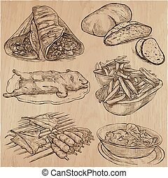 Food. Freehands, hand drawn collection. Line art.