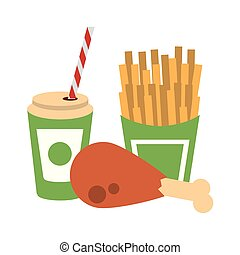 Food french fries and chicken with soda cup to go
