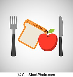 food fresh apple bread fork and knife