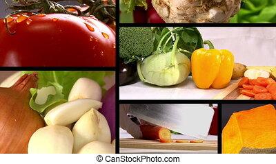 Food, fresh vegetables, Studio shot, composition 6 clips