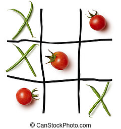 Food game Tic-tac-toe. - Diet concept hazardous game for...
