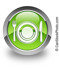 Food glossy icon - food icon on glossy green round button